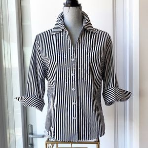 Black and White Striped Embellished Button Up